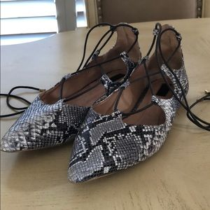 Topshop Leather Lace-up Pointed Toe Flats